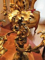 2 EA VTG FRENCH NOUVEAU CAST BRASS LAMP CANDELABRAS CRYSTAL CHANDELIERS FIXTURES