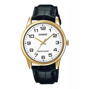 CASIO Watch Black Leather Man Woman 37MM (MTP-V001GL) New Case And Warranty