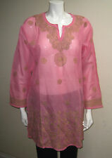 New India Chikan Lucknow Cotton Kurta Kurti Green Embroidery Pink Ladies Top