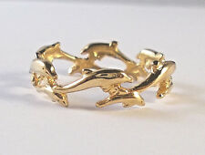 14 KT SOLID YELLOW GOLD DOLPHIN BAND SIZE 10