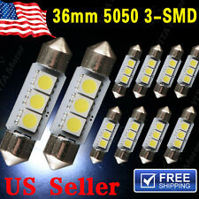 "10XWhite Festoon 1.50"" 36mm 5050 3SMD License Dome Map Interior LED Light DE3423"