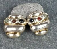 Rare Vintage EFRAT 925 Sterling Silver Modernist Bee Hive Clip On Earrings 20g