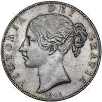 1845 CROWN (CINQUEFOIL STOPS) - VICTORIA BRITISH SILVER COIN - V NICE