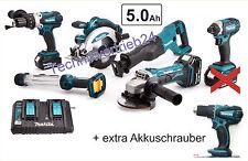 Makita 6er Geräteset 18V 5AH + extra Akkuschrauber DHP482w und Doppelladegerät