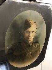 WW2 British Soldier Picture On Art Deco Mirror ,military,war,regiment,mourning