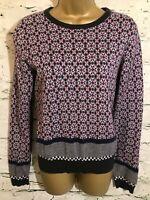 Hobbs NW3 Ladies Pink Grey Cotton Angora Loose Fit Jumper UK 8 EU 36 US 4
