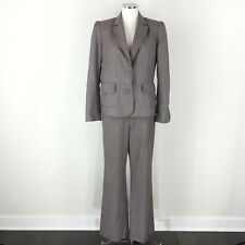 Anne Klein 10 brown Wool blend Pant Suit Career Cocktail trouser leg