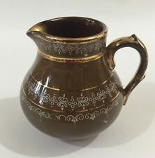 Vintage Brown Gold Milk Jug Creamer  G&S Ltd  Albany & Harvey  Burslem Potteries