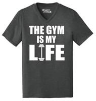 Mens Gym Is My Life Funny Workout Gym Trainer Gift Shirt Triblend V-Neck Fitness