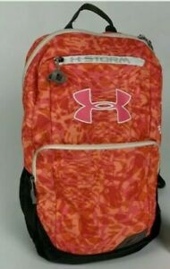 Under Armour Storm Girls School Bag Backpack Fluorescent Pink and Orange Camo