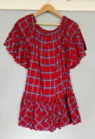 ce5ee9ca3190 Hayden Los Angeles Size Medium Red Ruffle Plaid Off The Shoulder Dress M