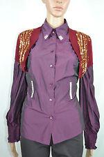 Womens Twenty One Burgundy Wine Gold Sequin Embellish Knit Crop Bolero sz S AS4