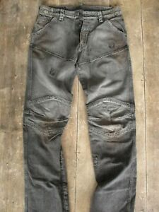 RARE VTG BELSTAFF Black Prince SPEED-ON JEANS (33x35) ARTICULATED-KNEE DISTRESSE