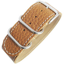 22mm Fluco Germany 1-Piece Mens Tan Leather UTC Military G10 Watch Band Strap
