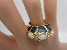 Vintage 14K Yellow Gold Opal Diamond Black Enamel Ring