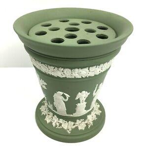 Green Wedgwood Jasperware Jasper Ware Vase With Original Frog
