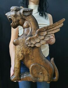 Antique Carved Walnut Gothic Sculpture Winged Griffin Architectural Fragment