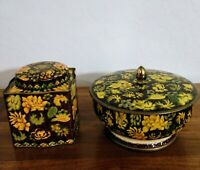 Vintage Daher Metal Containers Floral Tins With Lids set of 2 Made in England