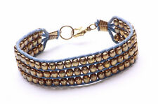 SUBTLY TRIBAL GOLD BEADS AND BLUE STRING THREE TIERED BRACELET WITH CLASP (ZX42)