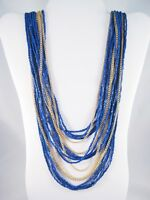 "Multi-Strand Blue Czech Seed Bead & Goldtone 31"" Necklace From QVC #N2045"