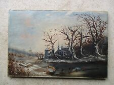 Antique 19thC Oil on Canvas Folk Art Ice Harvesting Landscape Painting
