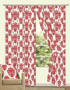 Lichfield Fully Lined Faux Silk Damask Flock Curtain Pair Red/Pearl White 6 Size