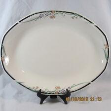 "Royal Doulton Juno Platter 13 1/2"" white floral blue green black line edging"