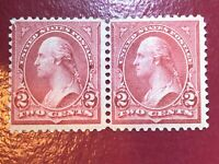US SCOTT Cat # 266 267 MH OG Combination PAIR 2c Se-tenant Stamps THIN Perf Sep