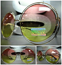OVERSIZE EXAGGERATED VINTAGE RETRO Style SUN GLASSES Round Gold Frame Pink Lens