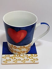 Kaffeebecher / Kaffeetasse Set Liebe Herz blau Tasse Untersetzer Kork Porzellan