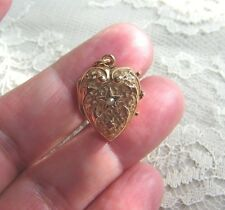 Antique Victorian 14k Pink Gold Repousee Puffy Heart Charm Photo Locket w Pearl