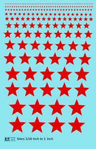 K4 All Scales Decals Five Point Stars 1/16 To 1 Inch Red