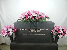 Memorial Cemetery Silk Flower Headstone/Tombstone Saddle+Matching Vase Bushes