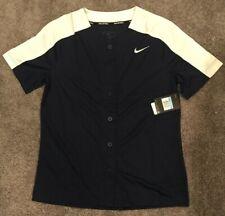 Nike Full Button Softball Henley Jersey Shirt Women's M Navy Blue White AV6719
