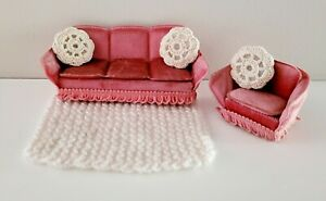 Vintage Lundby Dolls House 1980s Pink Velvet Sofa & Armchair