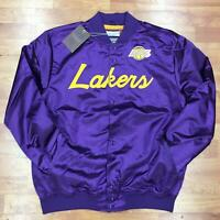 Authentic & Mitchell & Ness Scrip Los Angeles Lakers Satin Light Purple Jacket