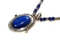 Bijou collier perles en Lapis Lazuli argent médaillon Lapis Lazuli idéal cadeau