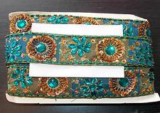 Teal Bronce Joya Lentejuelas indio Pastel de Bodas Baile Disfraz cinta de diamantes de imitación