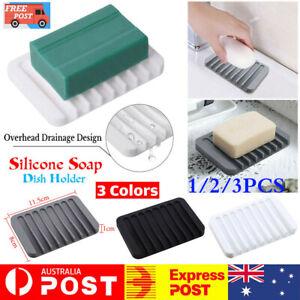 1/2/3PCS Silicone Soap Dish Storage Holder Soapbox Plate Tray Drain Box Bathroom