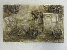 Gipsbild Postilion, 21,5 cm x 13 cm Pferdekutsche, Postkutsche