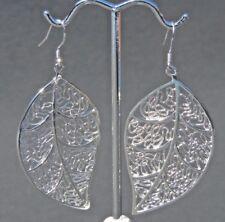 Silver Designed Leaf Charm Earrings Drop Dangle with Hook Fasten