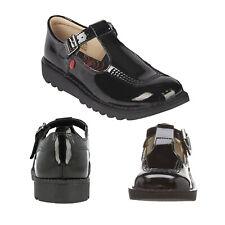 Kickers Teen Girls Black Patent Leather Kick T Core Mary Jane Kids School Shoes