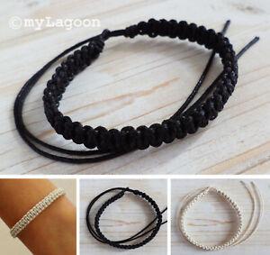 Handmade Mens Wristband Bracelet Surfer Cotton Cord Boys Tie on Plain Unisex