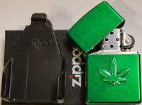 ZIPPO MARIJUANA POT WEED MEADOW GREEN FINISH AND Z CLIP FOR BELT BACKPACK NEW