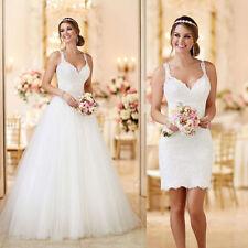Neu Spitze Brautkleid With Abnehmbarer Tüll rock A-Linie Hochzeitskleid Gr.34++