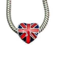 Silver And Enamel Union Jack British Flag Heart Charm European Bracelets