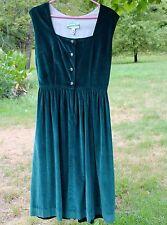 1980s Ireland Irish Dress 14 by Wears ODonnells Green Washable Cotton Velvet