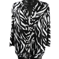 Rafaella Black & White Stretchy Long Sleeve Top Women's Size PSmall