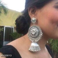 Indian Ethnic Traditional Bollywood Silver Oxidized Jhumka Jhumki Earrings