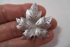 "Vintage Diamond Cut Sterling Silver Maple Leaf Pin - 1 5/8"" Brooch"